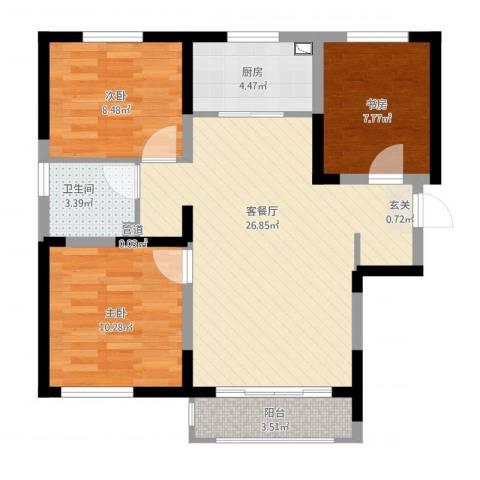 宝境檀香3室2厅1卫1厨93.00㎡户型图