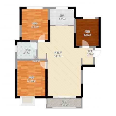 宝境檀香3室2厅1卫1厨115.00㎡户型图