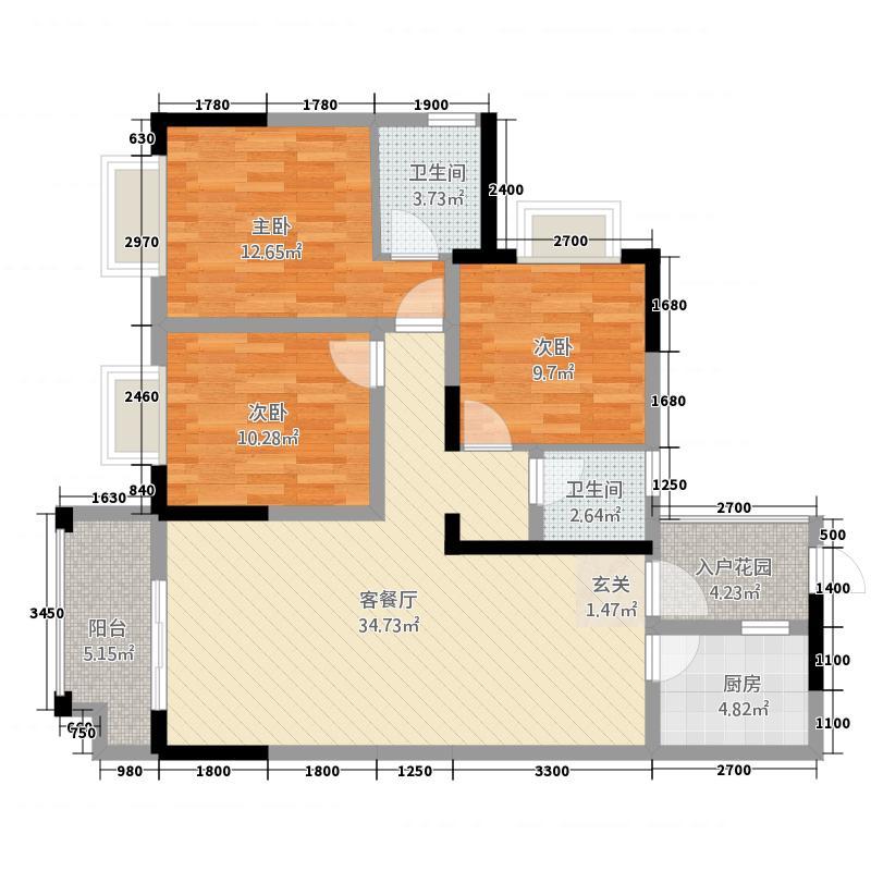 物华天宝33.52㎡A3户型3室2厅2卫1厨