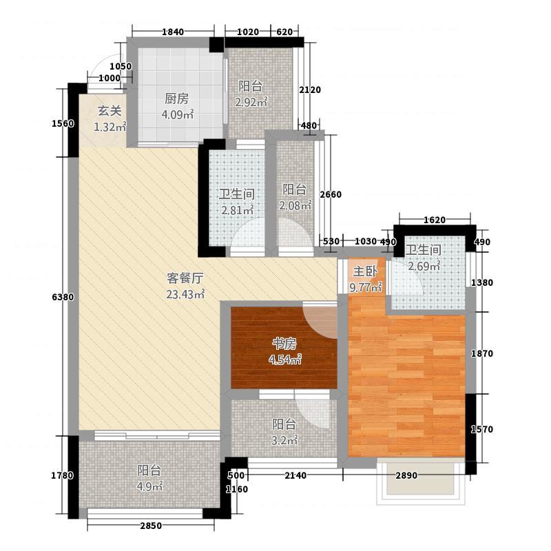 尚城澜庭2222.12㎡B户型2室2厅2卫1厨