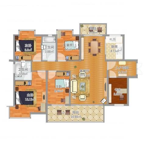 时代名苑5室3厅2卫1厨128.00㎡户型图