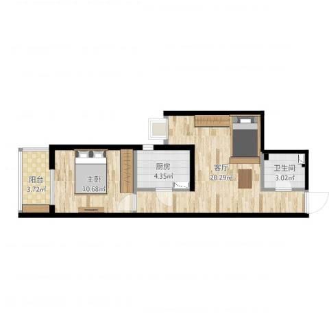 都市馨园1室1厅1卫1厨53.00㎡户型图