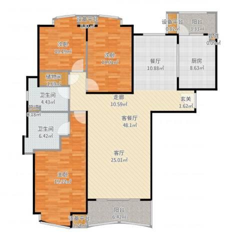莱诗邸3室2厅2卫1厨156.00㎡户型图
