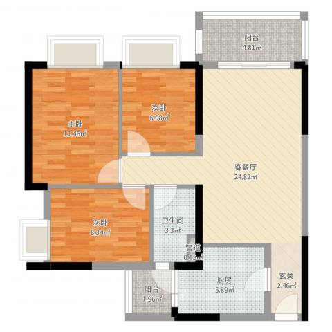 金沙・山海名门3室2厅1卫1厨85.00㎡户型图