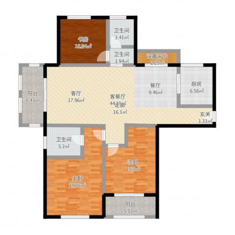国华天玺3室2厅3卫1厨152.00㎡户型图
