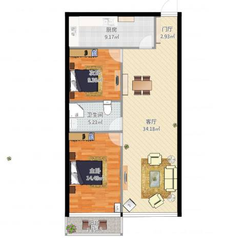 兴盛小区2室1厅1卫1厨91.00㎡户型图