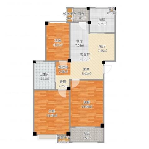 甫澄熙岸3室2厅1卫1厨103.00㎡户型图