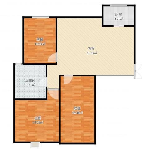 阿尔卡迪亚3室1厅1卫1厨106.00㎡户型图