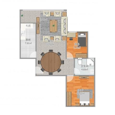 恒大幸福家园2室1厅1卫1厨81.00㎡户型图
