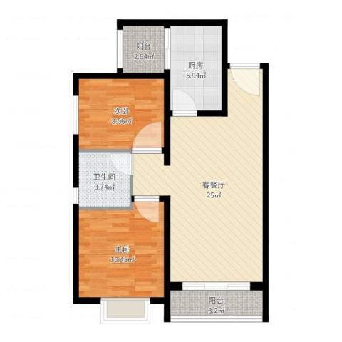 恒大幸福家园2室2厅1卫1厨74.00㎡户型图
