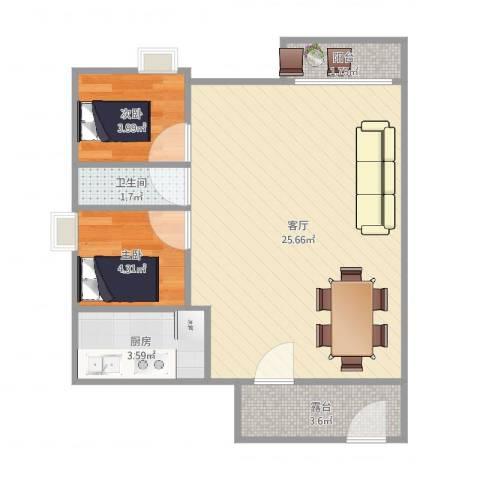 中惠郡庭2室1厅1卫1厨56.00㎡户型图
