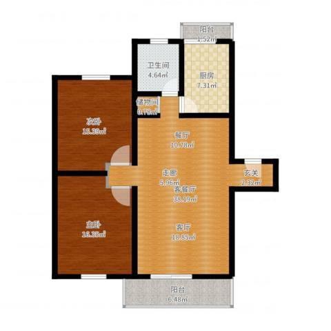 恒大翰城瀚林苑2室2厅1卫1厨113.00㎡户型图