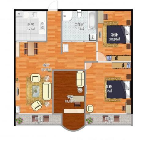 紫云小区3室1厅1卫1厨117.00㎡户型图