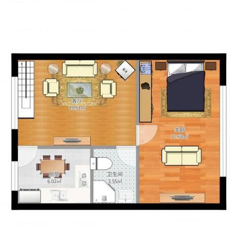 兴盛小区1室1厅1卫1厨53.00㎡户型图