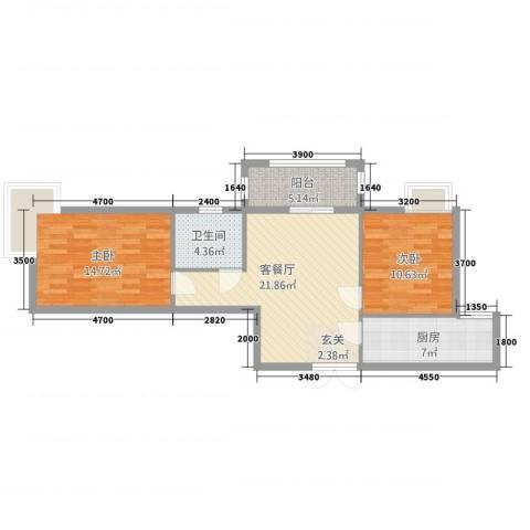 东恒时代三期2室2厅1卫1厨71.86㎡户型图