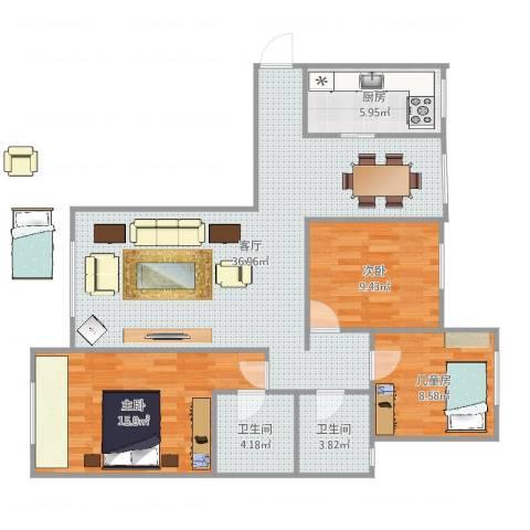丽景蓝湾C区8-2-1013室1厅2卫1厨114.00㎡户型图