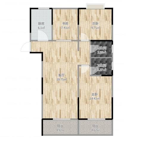 美岸青城幸福里3室1厅2卫1厨106.00㎡户型图