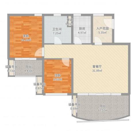 华润小径湾2室2厅1卫1厨116.00㎡户型图