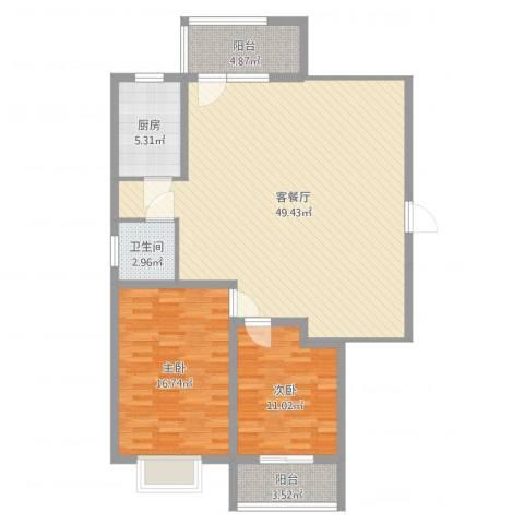 大通君澜2室2厅1卫1厨117.00㎡户型图