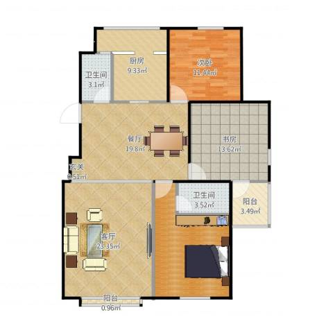 清华园小区2室1厅2卫1厨128.00㎡户型图
