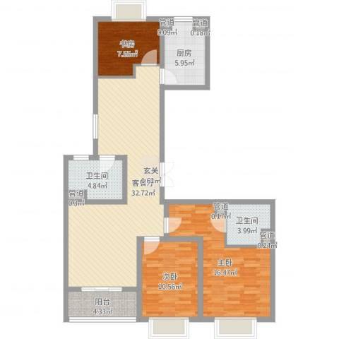 新湖青蓝国际3室2厅2卫1厨109.00㎡户型图