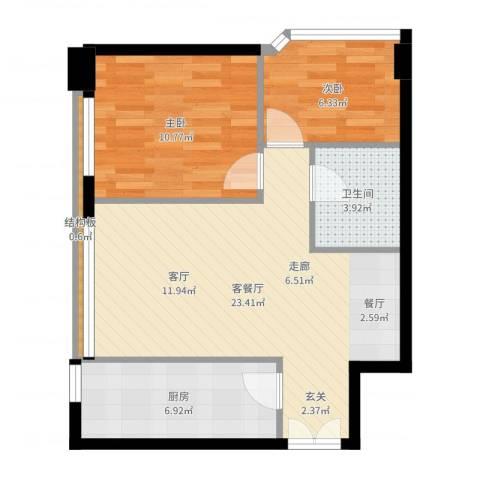 本家润园2室2厅1卫1厨65.00㎡户型图