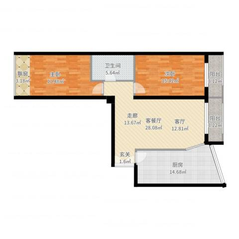 本家润园2室2厅1卫1厨110.00㎡户型图