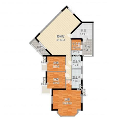锦城花园3室2厅3卫1厨141.00㎡户型图