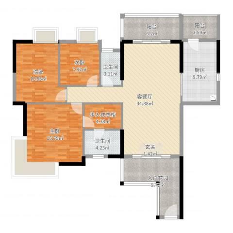 荔园悦享星醍3室2厅2卫1厨140.00㎡户型图