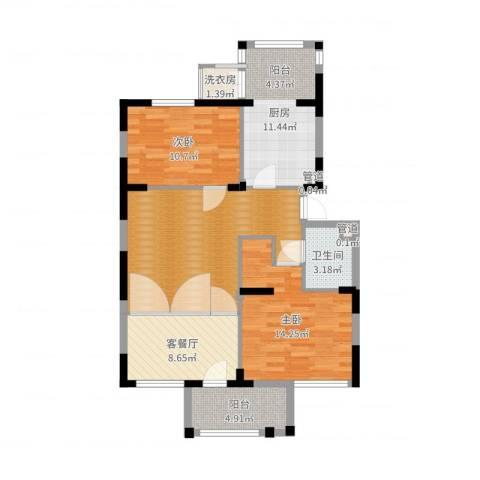 龙泽苑东区2室2厅1卫1厨94.00㎡户型图
