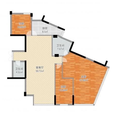 武夷天琴湾3室2厅2卫1厨166.00㎡户型图