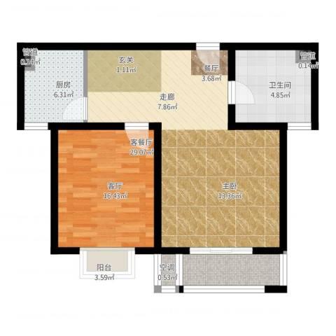 和骏新家园1室2厅1卫1厨72.00㎡户型图