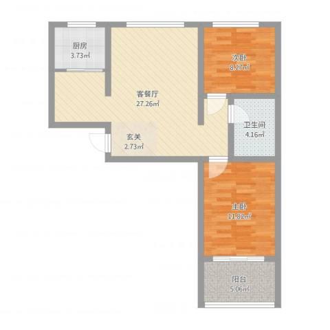 地矿家园2室2厅1卫1厨60.29㎡户型图