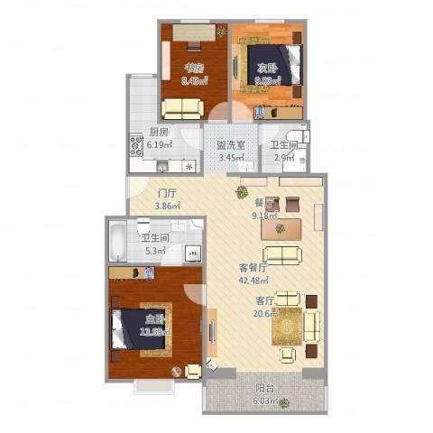 宝盛北里3室2厅2卫1厨110.00㎡户型图