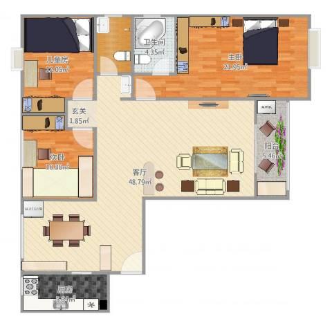 康泰小区3室1厅1卫1厨140.00㎡户型图