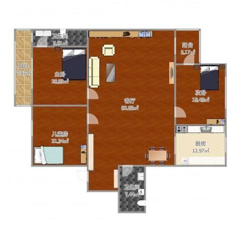 双花园西里3室1厅2卫1厨229.00㎡户型图