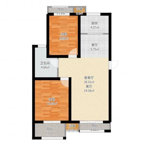 水韵名居2室2厅1卫1厨84.00㎡户型图