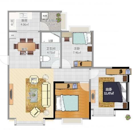 博雅海润广场2室1厅1卫1厨83.00㎡户型图