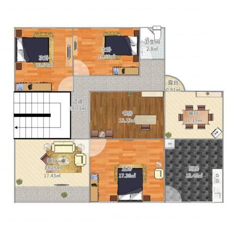 温馨家园4室1厅2卫1厨150.00㎡户型图