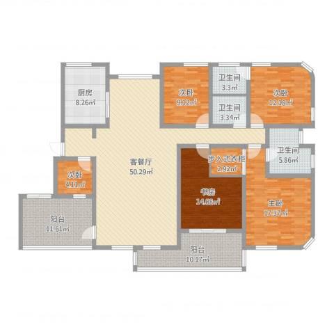 八一路省公安厅单位房5室2厅3卫1厨191.00㎡户型图