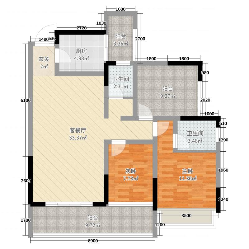 天福・剑江半岛112.76㎡C户型2室2厅2卫1厨