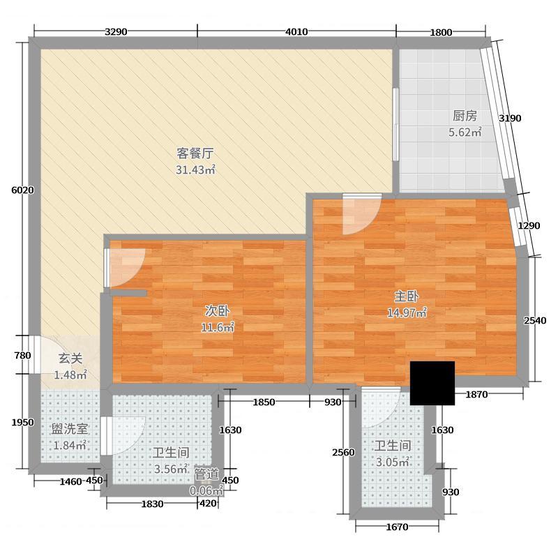 君悦白领公寓84.82㎡户型2室2厅1卫1厨