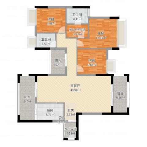 优越香格里3室2厅2卫1厨142.00㎡户型图