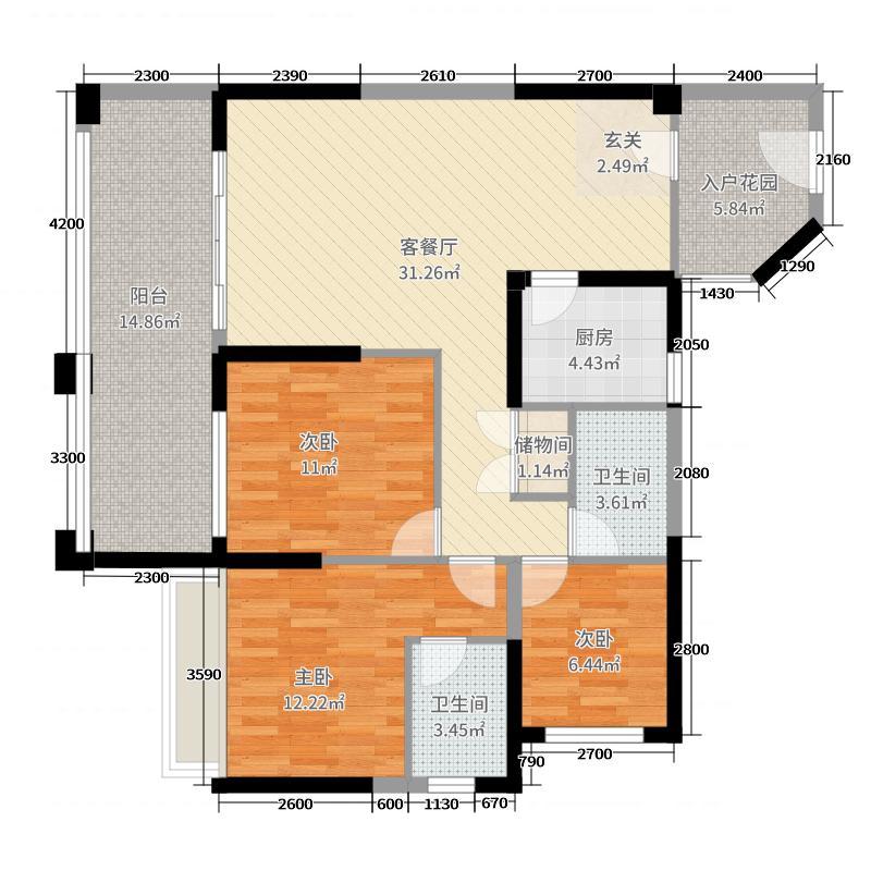 尚城・财富中心14.84㎡B1户型3室2厅2卫1厨
