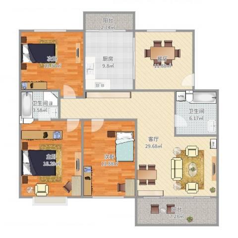 凤凰山庄3室2厅2卫1厨154.00㎡户型图