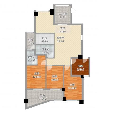 郦景阳光二期4室2厅2卫1厨130.00㎡户型图
