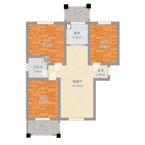 御秀园3室2厅1卫1厨92.00㎡户型图