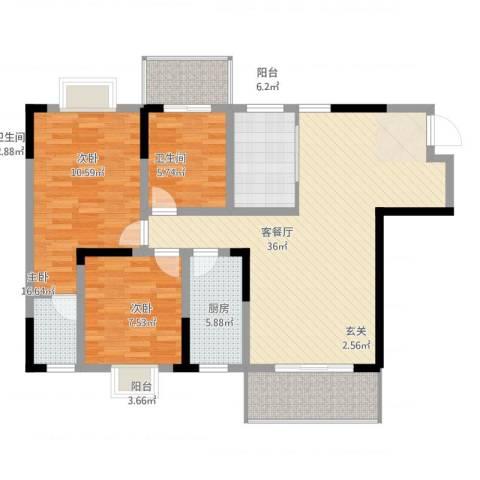 长虹百花沁苑3室2厅2卫1厨119.00㎡户型图