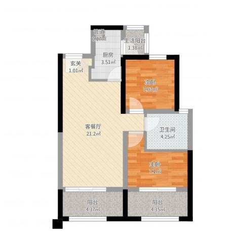 中铁・缇香郡2室2厅1卫1厨67.00㎡户型图