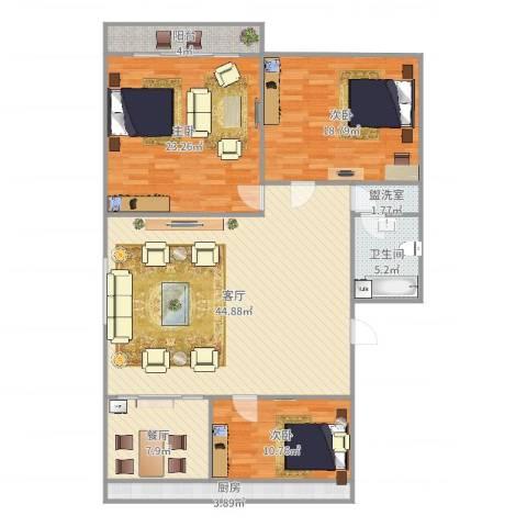 师范小区3室4厅1卫1厨151.00㎡户型图